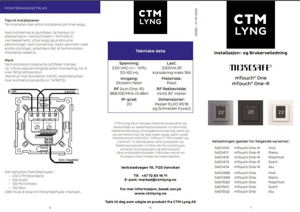 CTM Mtouch One Termostat Polarhvit 2-pol