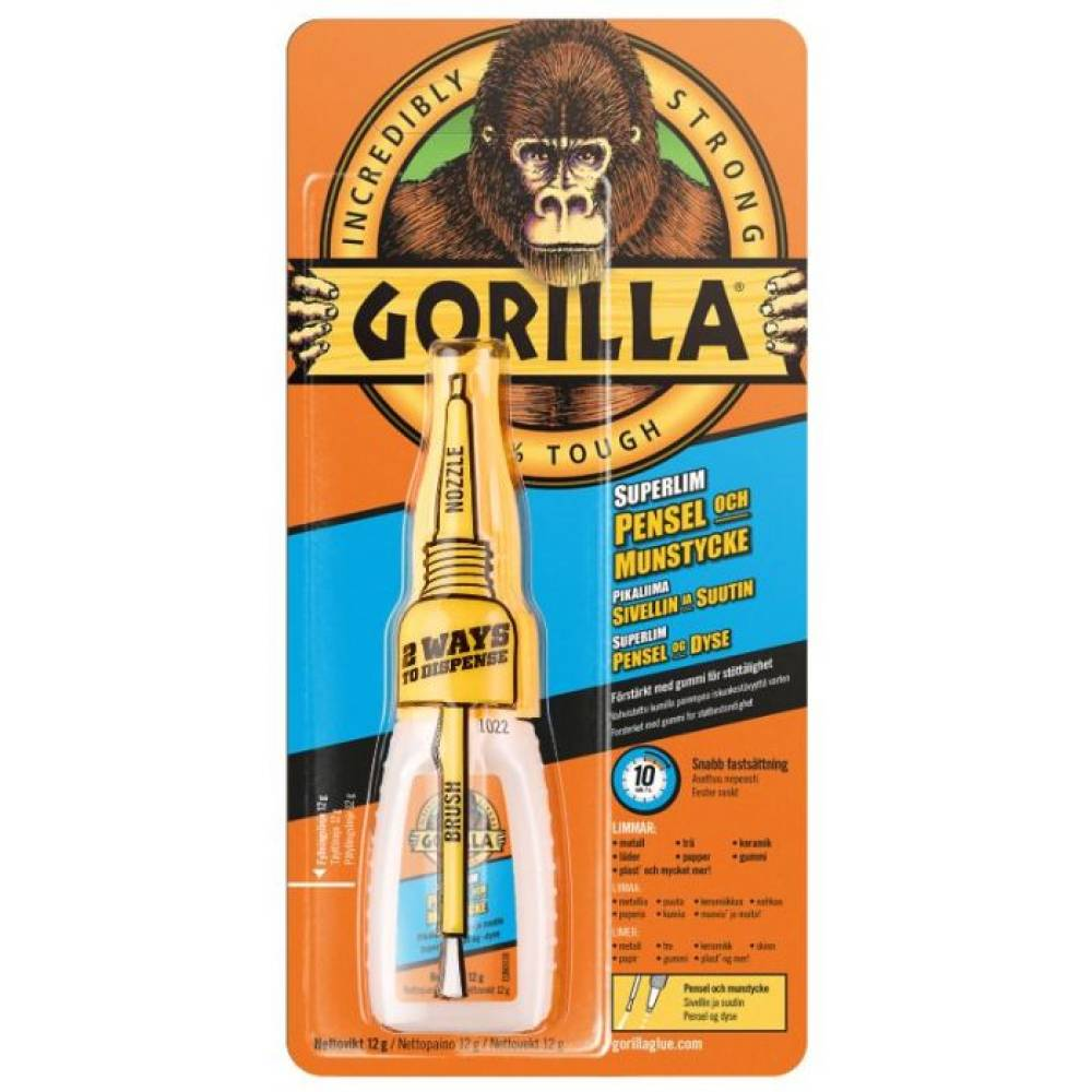 Gorilla superlim med børste 12 gram