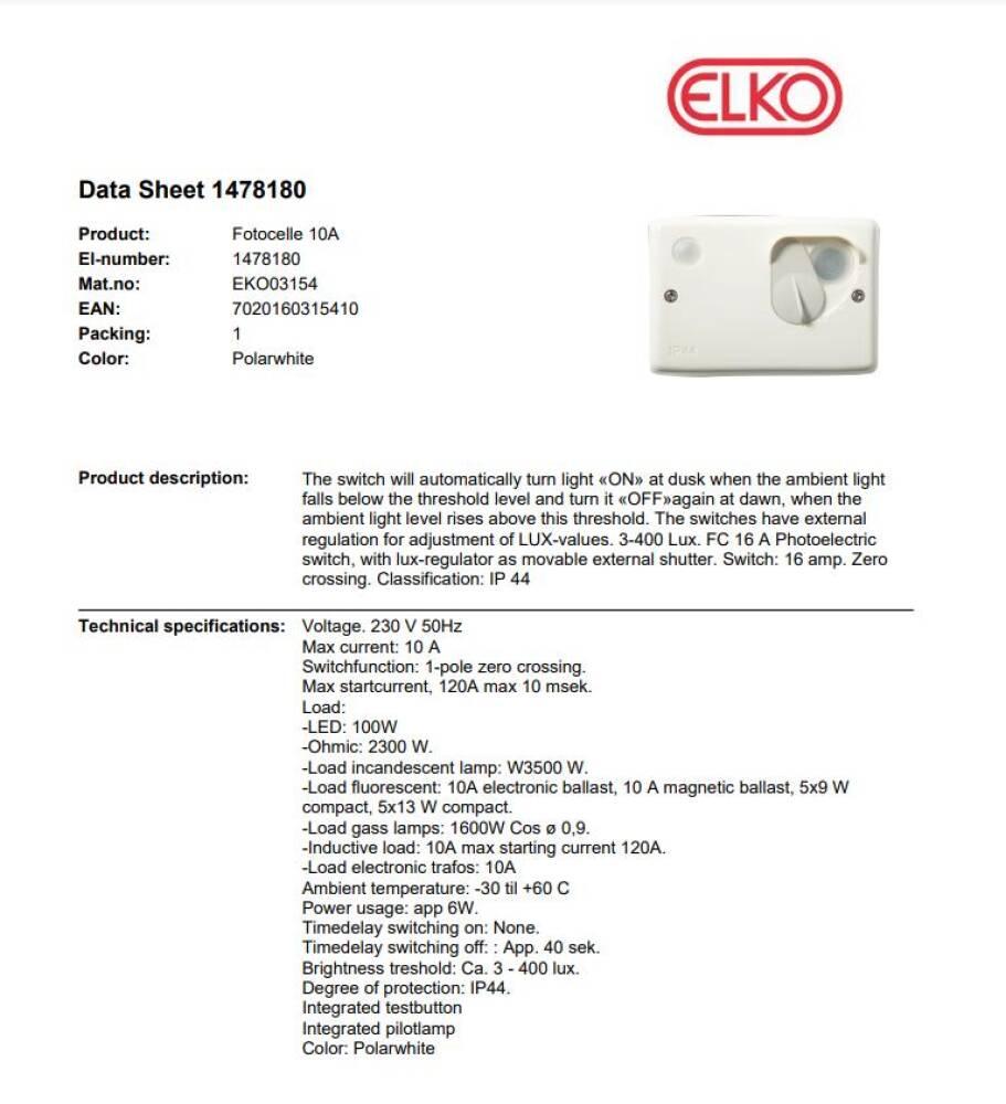 Elko Fotocelle FCA10A