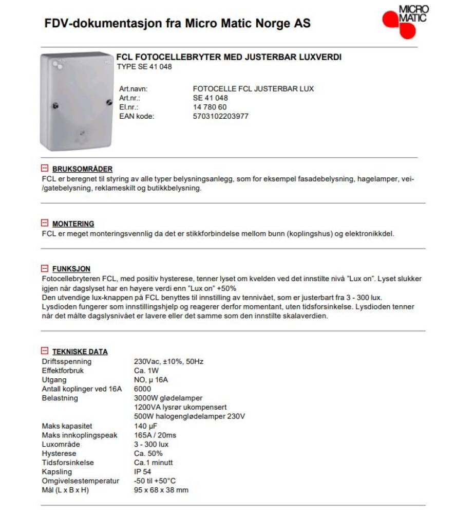 Micromatic FCL Fotocelle 3-300 Lux justerbar